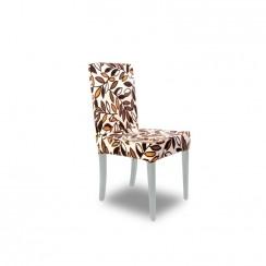 Kombin Sandalye | Beyaz Ayak | Kahverengi & Krem Desenli