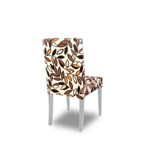 Kombin Sandalye   Beyaz Ayak   Kahverengi & Krem Desenli
