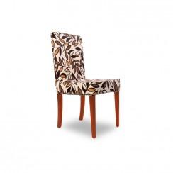 Kombin Sandalye | Ceviz Ayak | Kahverengi & Krem Desenli